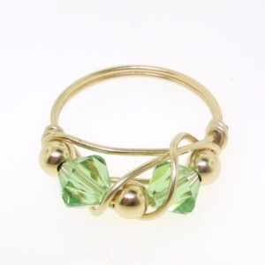 12108 - Gold Filled Ring With Swarovski Crystal - Peridot