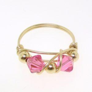 12110 - Gold Filled Ring With Swarovski Crystal - Rose
