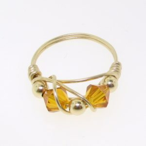 12111 - Gold Filled Ring With Swarovski Crystal - Topaz