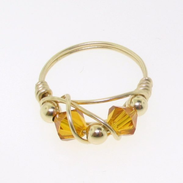 12111 - Gold Filled Ring With Swarovski Crystal - Topaz