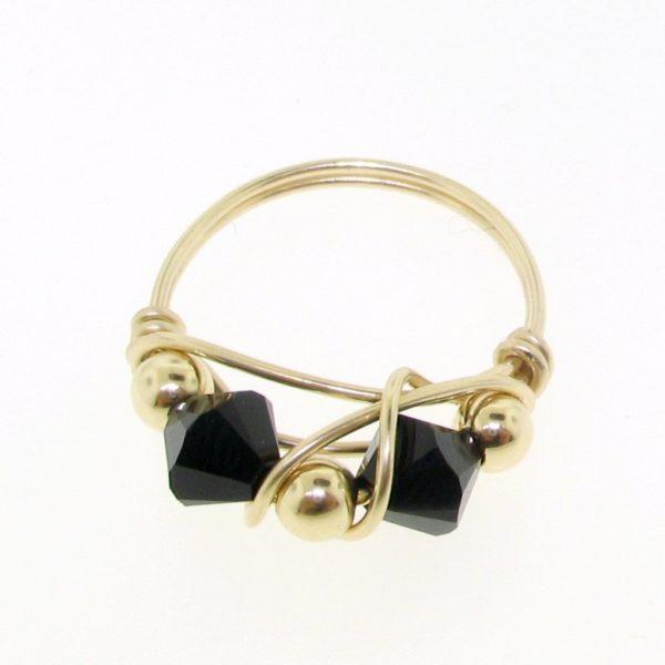 12113 - Gold Filled Ring With Swarovski Crystal - Jet