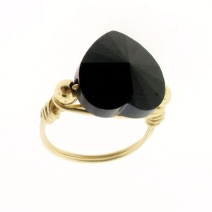 12115 - 14K Gold Filled Ring With Swarovski Heart Crystal-Jet