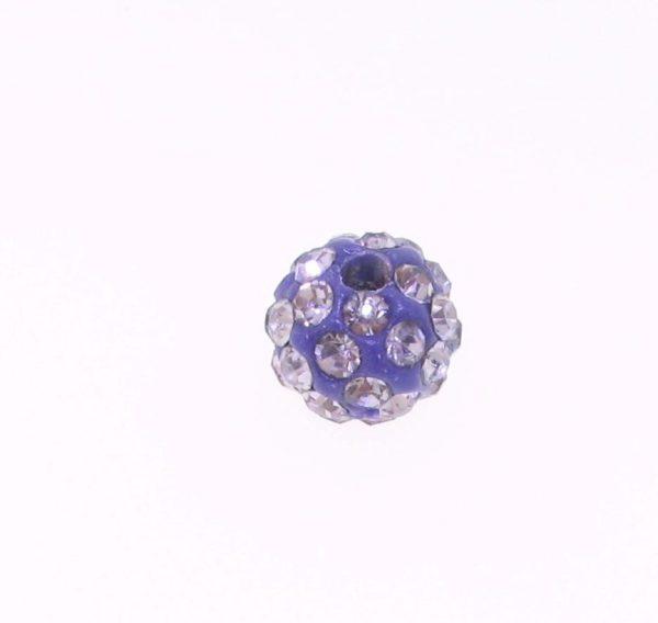 4208 - 8mm Round Shamballa Bead - Tanzanite