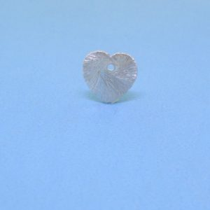#15727 - Brushed Sterling Silver Flat Heart Pendant - 8mm