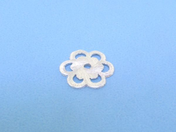 #15732 - Brushed Sterling Silver Flat Filligree Bead  - 12.5mm