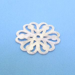 #15734 - Brushed Sterling Silver Flat Filligree Bead  - 19mm