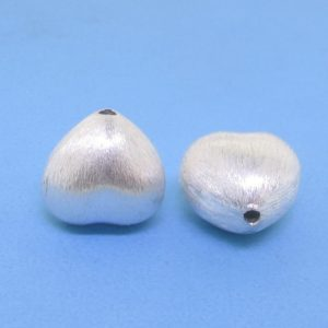 #15799 - Brushed Sterling Silver Heart Bead - 12mm