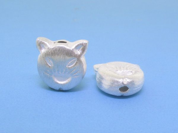 #15813 - Brushed Sterling Silver Cat Face Bead - 12mm
