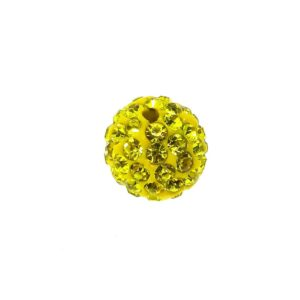 4212 - 12mm Round Shamballa Bead - Yellow