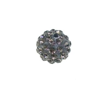 4212 - 12mm Round Shamballa Bead - Black Diamond
