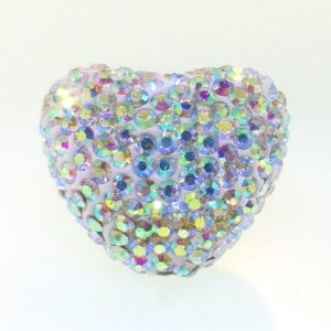 4223 - 25x29mm Shamballa Heart - Crystal AB