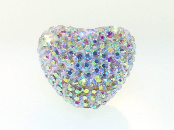 4223 - 25x22mm Shamballa Heart - Crystal AB