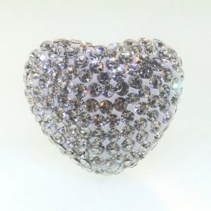 4223 - 25x22mm Shamballa Heart- Crystal