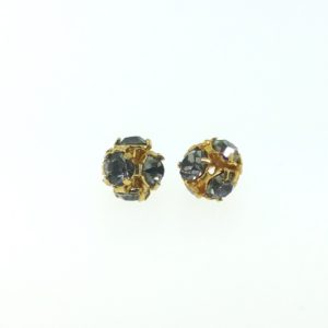 # 3705 - 5mm Swarovski Gold Plated Rhinestone Ball - Black Diamond