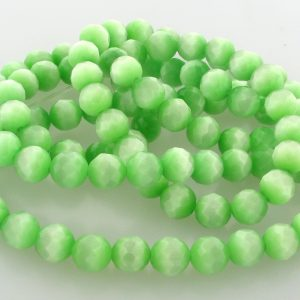 """9501 - 4mm Round Faceted Cat's Eye (16"""" Strand) - Light Green"""