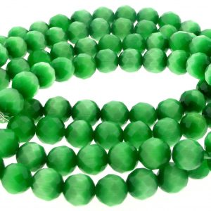 """9501 - 4mm Round Faceted Cat's Eye (16"""" Strand) - Green"""