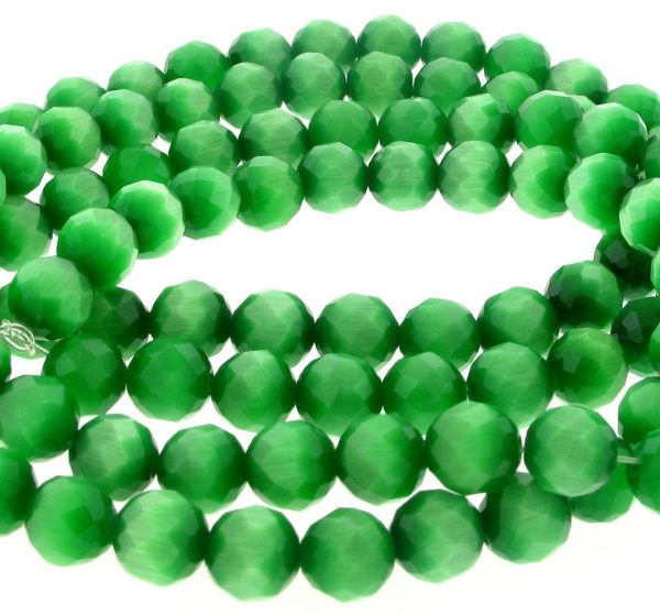 "9501 - 4mm Round Faceted Cat's Eye (16"" Strand) - Green"