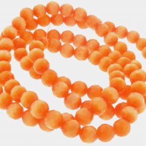 """9501 - 4mm Round Faceted Cat's Eye (16"""" Strand) - Light Orange"""