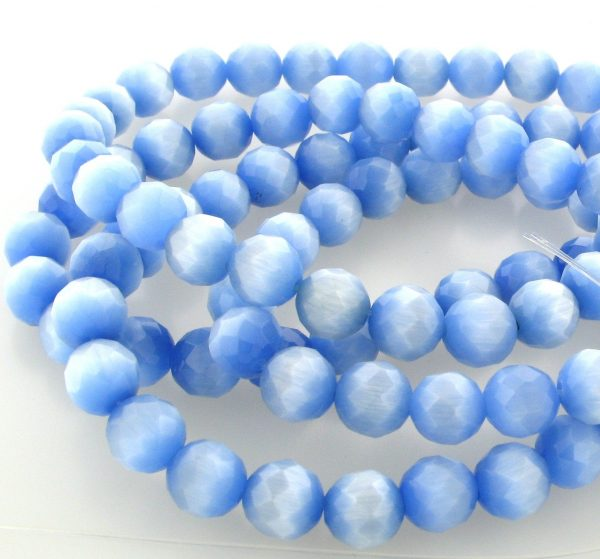 """9501 - 4mm Round Faceted Cat's Eye (16"""" Strand) - Light Sapphire"""