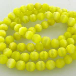 "9501 - 4mm Round Faceted Cat's Eye (16"" Strand) - Light Yellow"