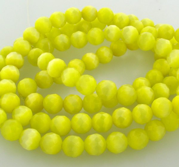 """9501 - 4mm Round Faceted Cat's Eye (16"""" Strand) - Light Yellow"""