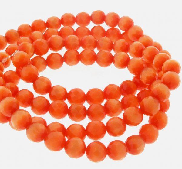 "9501 - 4mm Round Faceted Cat's Eye (16"" Strand) - Orange"