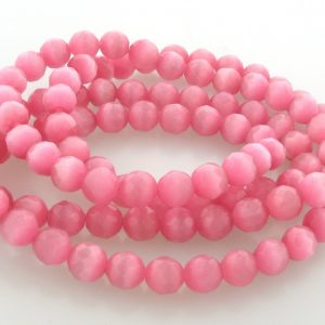 """9501 - 4mm Round Faceted Cat's Eye (16"""" Strand) - Rose"""