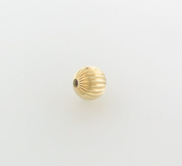 68 - 10mm Gold Filled Corrugated Round Bead