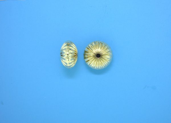 83 - 12mm Gold Filled Straight Corrugated Round Saucer Bead (Rondelle)