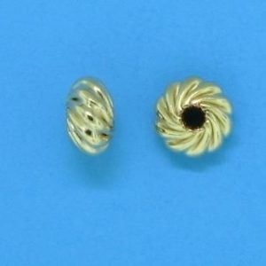 90 - 4.5x2mm Gold Filled Twisted Corrugated Round Saucer Bead (Rondelle)