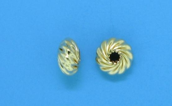 91 - 5.75x3mm Gold Filled Twisted Corrugated Round Saucer Bead (Rondelle)