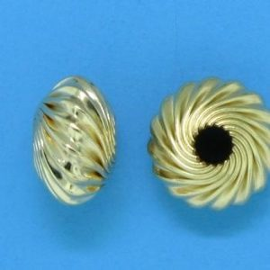 93 - 9x5mm Gold Filled Twisted Corrugated Round Saucer Bead (Rondelle)