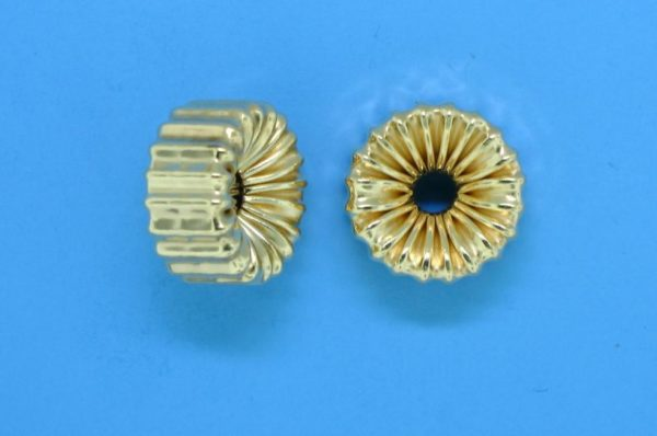 114 - 12.5x5mm Gold Filled Corrugated Flat Rondelle