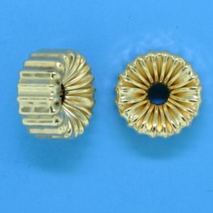 115 - 11.5x6.25mm Gold Filled Corrugated Flat Rondelle
