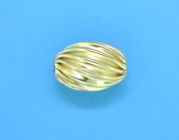 204 - 9.2x13mm Gold Filled Design Oval Bead