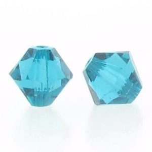 5301/5328 - 6mm Swarovski Bicone Crystal Bead - Blue Zircon