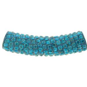 4219 - 9x36mm Shamballa Pave Tube - Blue Zircon
