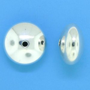 1291 - 10mm Sterling Silver Plain Round Saucer Bead