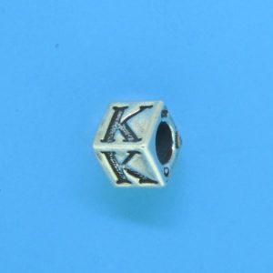 1310 - 6.5mm Sterling Silver Alphabet - K