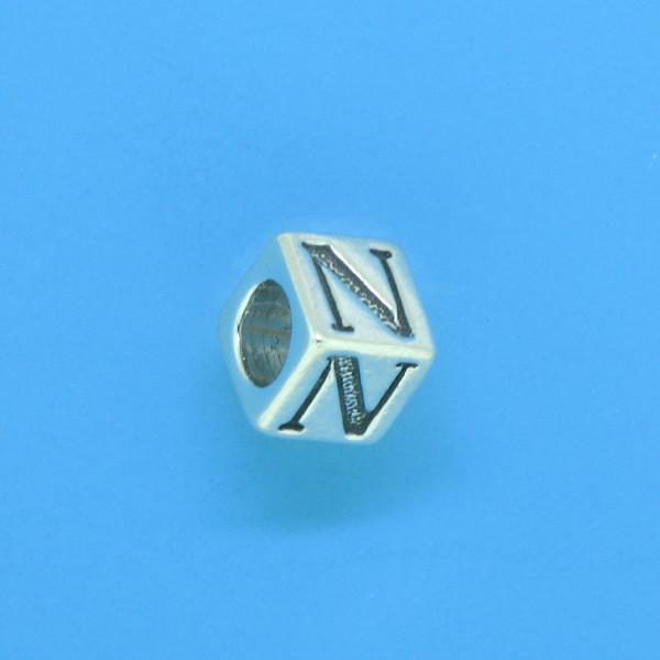 1310 - 6.5mm Sterling Silver Alphabet - N