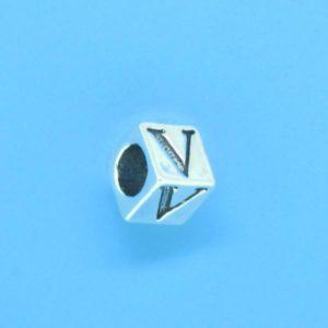 1310 - 6.5mm Sterling Silver Alphabet - V