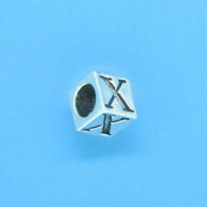 1310 - 6.5mm Sterling Silver Alphabet - X