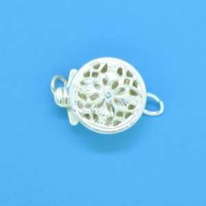 1365 - Sterling Silver Round Filigree One Strand Clasp