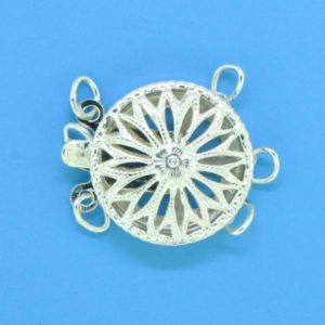 1367 - Sterling Silver Round Filigree Three Strand Clasp