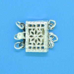 1368 - Sterling Silver Square Filigree Three Strand Clasp