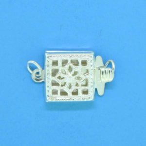 1369 - Sterling Silver Square Filigree One Strand Clasp