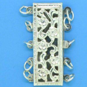 1372 - Sterling Silver Filigree Five Strand Clasp