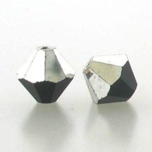 5301/5328 - 6mm Swarovski Bicone Crystal Bead - Jet Comet Argent Light