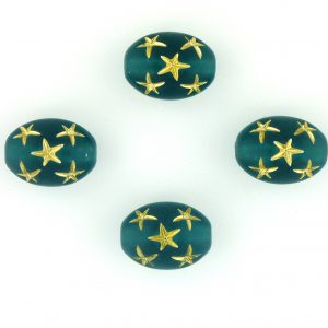 9021 - 13x10mm Gold Star Beads (Oval) - Emerald