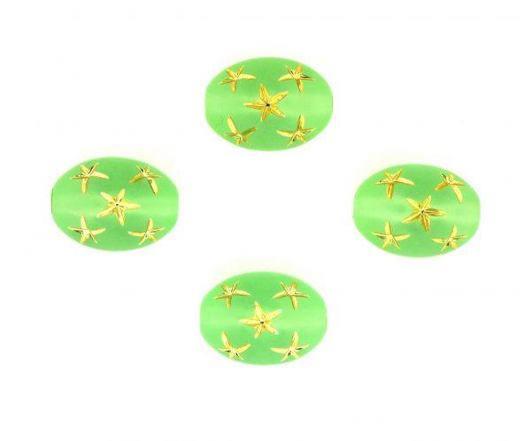 9021 - 13x10mm Gold Star Beads (Oval) - Peridot